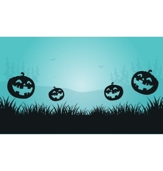 Silhouette of pumpkins and foggy Halloween vector image vector image