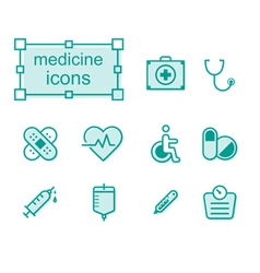 Thin line icons set Medicine vector image