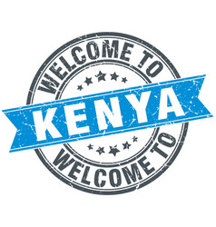Welcome to kenya blue round vintage stamp vector