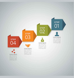 4 steps of infographic with red orange green and vector image