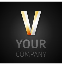 abstract logo letter V vector image