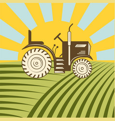 Agricultural vehicle tractor or harvester machine vector