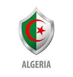 algeria flag on metal shiny shield vector image