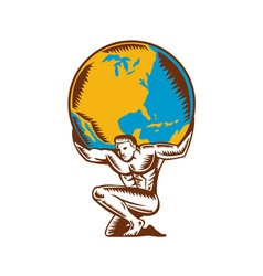 Atlas Lifting Globe Kneeling Woodcut vector image