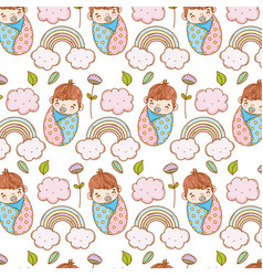 baby boy in the blanket and rainbow with clouds vector image