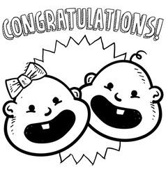 Baby congratulations doddle vector
