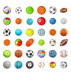 ball sports icon set cartoon style vector image