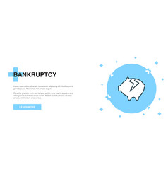 Bankruptcy icon banner outline template concept vector