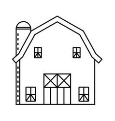 Barn or farm house with pole barns - line art vector