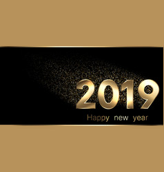 Black happy new year 2019 banner with gold figures vector