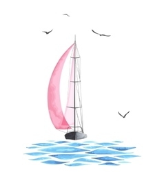 Boat with sails and seagulls made in the vector image