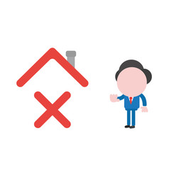 Businessman character giving hand stop sign to x vector