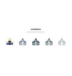 Cambodia icon in different style two colored vector