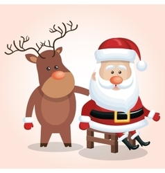 card cute santa claus sit reindeer isolated vector image