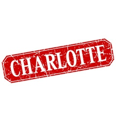 Charlotte red square grunge retro style sign vector