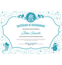 Christmas white certificate with santa claus and vector
