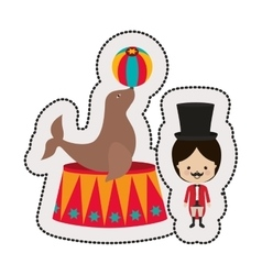 Circus ceremony master with seal vector