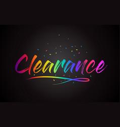 Clearance word text with handwritten rainbow vector