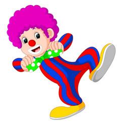Clown using big tie cartoon vector