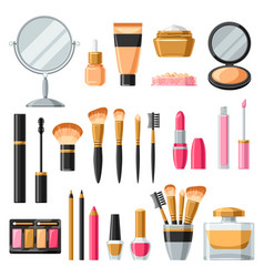 Cosmetics for skincare and makeup product set vector