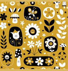 Cute flowers mushrooms nature pattern vector