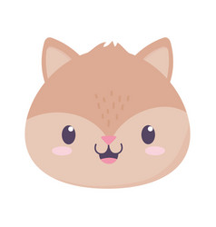 cute squirrel face animal cartoon isolated icon vector image