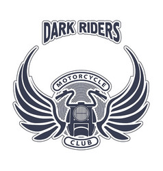 dark riders motorcycle club design for emblem or vector image