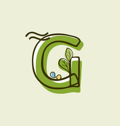 Eco style letter g logo hand-drawn with a marker vector