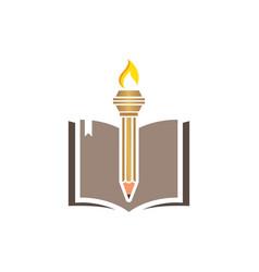 Education pencil torch icon vector