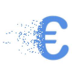 Euro symbol broken pixel icon vector