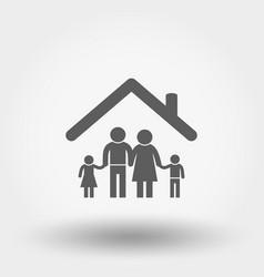 family icon silhouette flat vector image