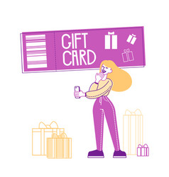 female character with smartphone stand near gift vector image