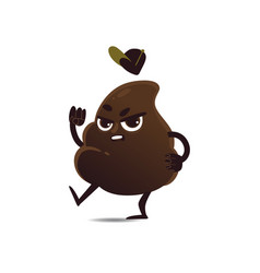 flat angry poop vector image