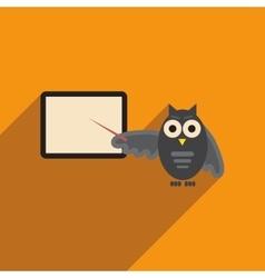 Flat icon with long shadow owl teacher vector
