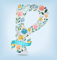 floral letter p with blue ribbon vector image