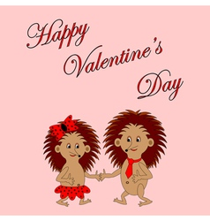 Funny boy and girl with words Happy Valentines Day vector