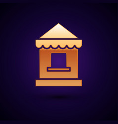 Gold ticket box office icon isolated on dark blue vector