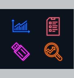 Graph checklist and usb flash icons analytics vector