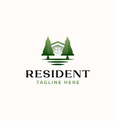 green resident logo template isolated in white vector image