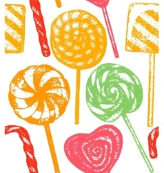 Hand drawn colorful lollipop background vector