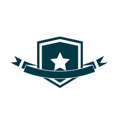 happy independence day shield star emblem ribbon vector image
