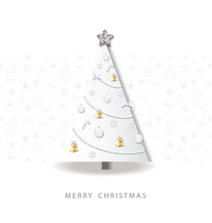 happy new year greeting card christmas tree vector image