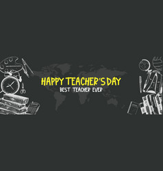 Happy teacher day with world map on black vector