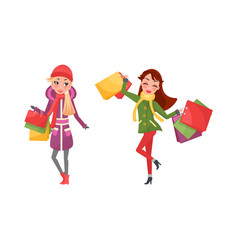 happy women on shopping isolated females vector image