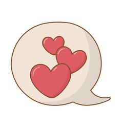 hearts into speech bubble vector image