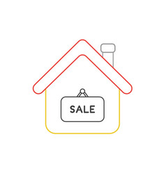 Icon concept house with sale word written on vector