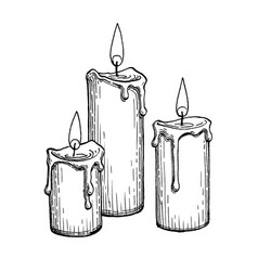 Ink sketch burning candles vector