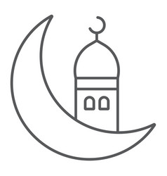 islamic ramadan thin line icon arabic and islam vector image