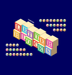 isometric colorful wooden letter blocks alphabet vector image