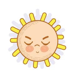 kawaii angry sun icon vector image